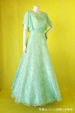 画像3: 数量限定 / たっぷりハートがキュート&エレガントなミントグリーンの袖付きフレアーロングドレス (3)