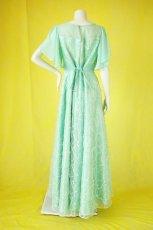 画像14: 数量限定 / たっぷりハートがキュート&エレガントなミントグリーンの袖付きフレアーロングドレス (14)