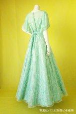 画像4: 数量限定 / たっぷりハートがキュート&エレガントなミントグリーンの袖付きフレアーロングドレス (4)