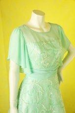 画像5: 数量限定 / たっぷりハートがキュート&エレガントなミントグリーンの袖付きフレアーロングドレス (5)