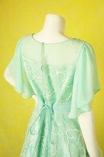 画像6: 数量限定 / たっぷりハートがキュート&エレガントなミントグリーンの袖付きフレアーロングドレス (6)