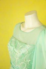 画像7: 数量限定 / たっぷりハートがキュート&エレガントなミントグリーンの袖付きフレアーロングドレス (7)