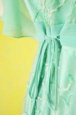 画像10: 数量限定 / たっぷりハートがキュート&エレガントなミントグリーンの袖付きフレアーロングドレス (10)