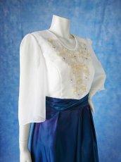 画像7: 数量限定 / 煌きのビジュー入り袖付きフレアーロングドレス (7)