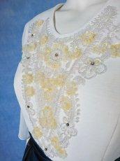 画像10: 数量限定 / 煌きのビジュー入り袖付きフレアーロングドレス (10)