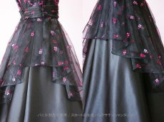 画像11: 数量限定 / イタリア製オーガンジーを使ったオーバースカート付き2wayの袖付きフレアーロングドレス (11)
