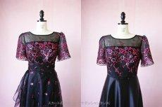 画像14: 数量限定 / イタリア製オーガンジーを使ったオーバースカート付き2wayの袖付きフレアーロングドレス (14)