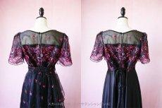 画像15: 数量限定 / イタリア製オーガンジーを使ったオーバースカート付き2wayの袖付きフレアーロングドレス (15)