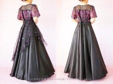 画像3: 数量限定 / イタリア製オーガンジーを使ったオーバースカート付き2wayの袖付きフレアーロングドレス (3)
