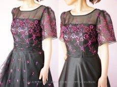 画像4: 数量限定 / イタリア製オーガンジーを使ったオーバースカート付き2wayの袖付きフレアーロングドレス (4)