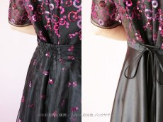 画像7: 数量限定 / イタリア製オーガンジーを使ったオーバースカート付き2wayの袖付きフレアーロングドレス (7)