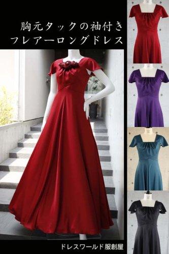529666d8f02cd 胸元タックの袖付きフレアーロングドレス  1-0192
