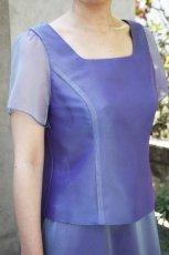 画像4: 色・生地が選べるコーラス用ブラウス【袖付き/ブルー/オーガンジー】 (4)