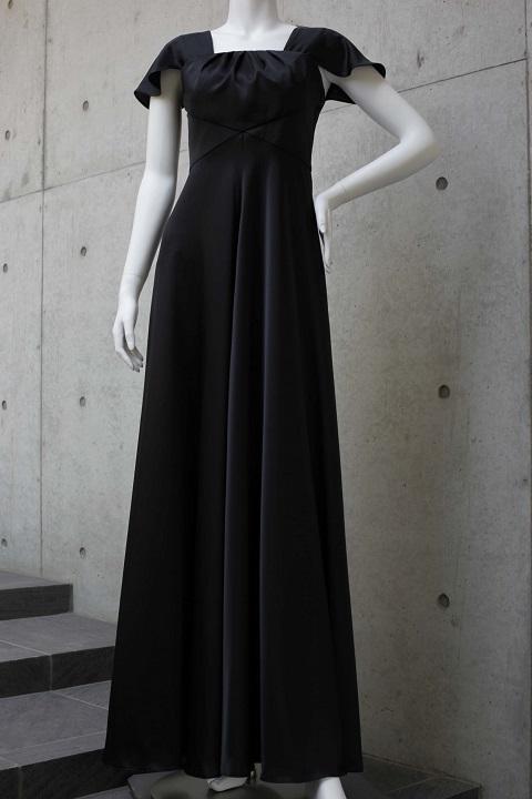 画像1: 胸元タックの袖付きフレアーロングドレス (1)