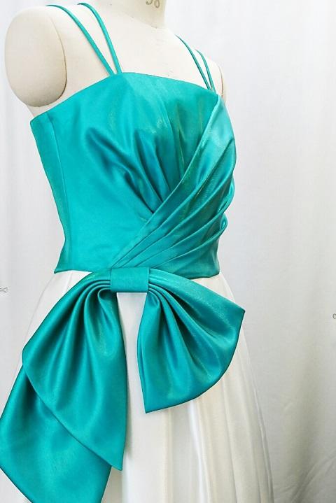 ドレス(グリーン&オフホワイト)