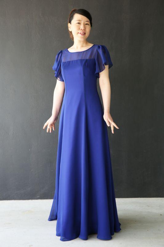 画像1: 胸元ヨーク切替の袖付きフレアーロングドレス (1)
