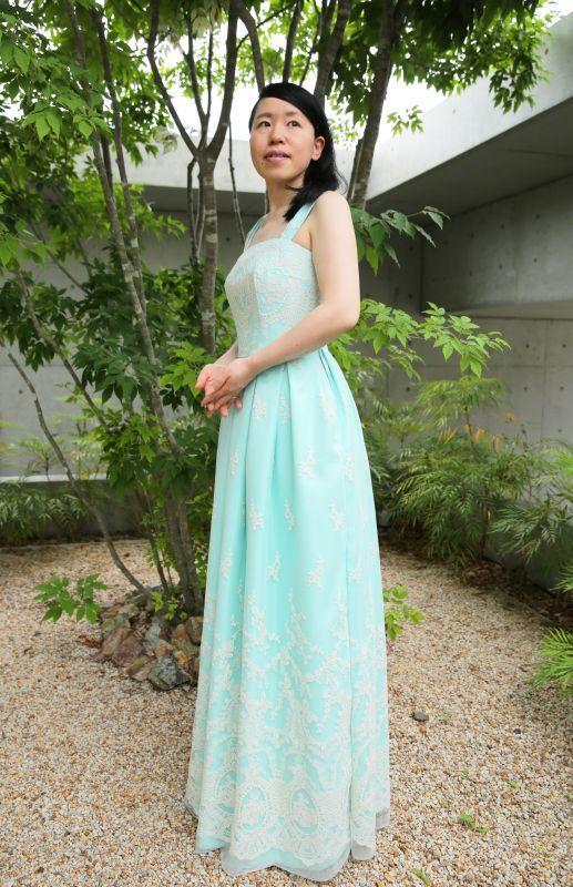 ドレス(グリーン×オフベージュ)