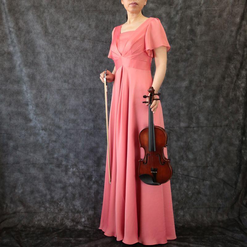 画像1: SALE / 展示品につき40%OFFハイウエスト切替の袖付きフレアーロングドレス(ピンク)M号 (1)