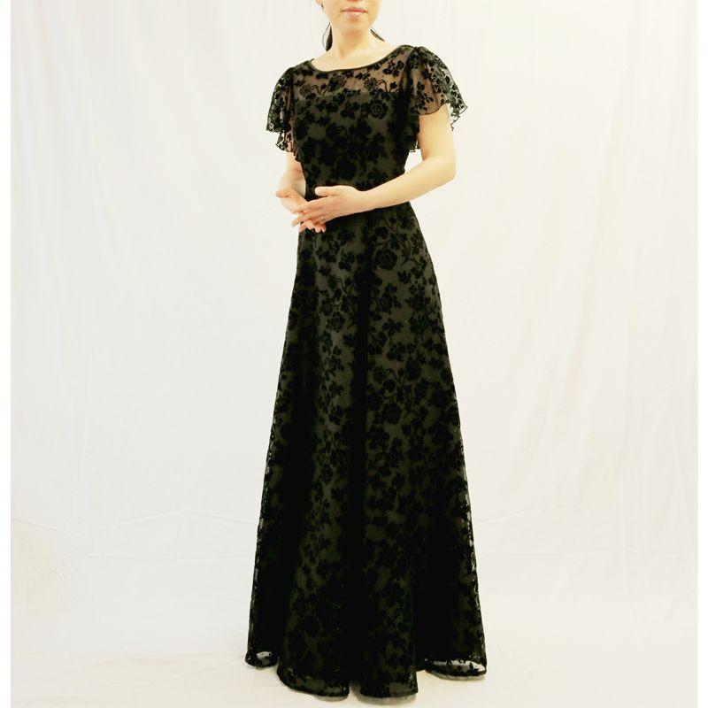 画像1: 【数量限定】ベルベット(オパール加工入り)で仕立てる胸元ヨーク切替の袖付きフレアーロングドレス (1)