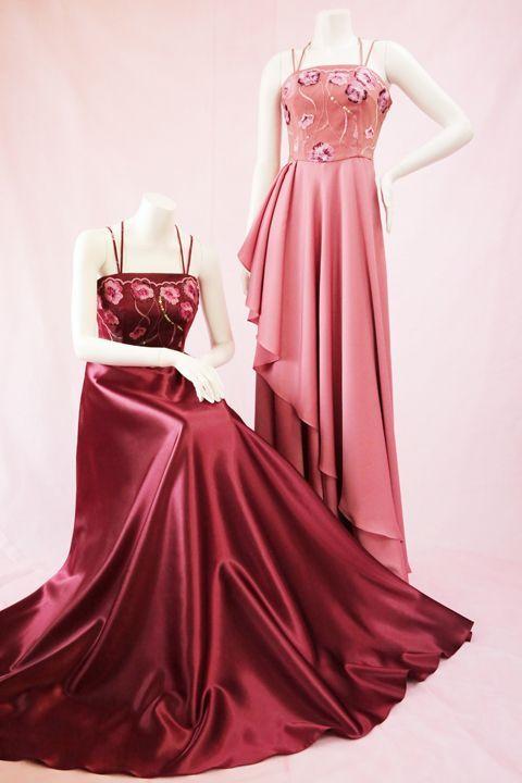 ドレス(ワインレッド&ピンク)