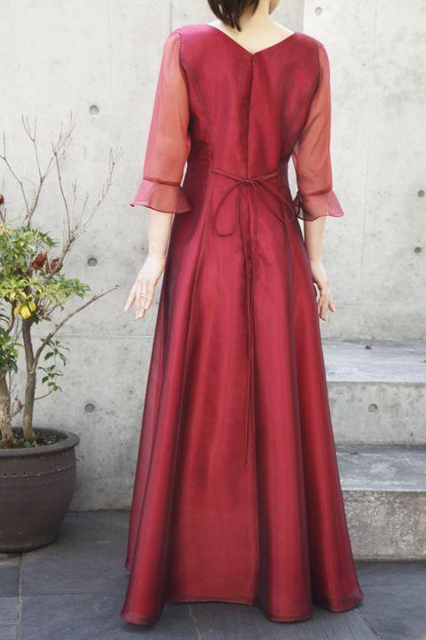 色・生地が選べるコーラス用ドレス【袖付き/レッド/オーガンジー】