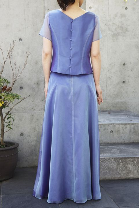 色・生地が選べるコーラス用ブラウス【袖付き/ブルー/オーガンジー】