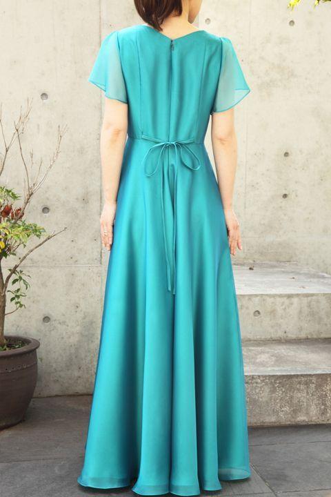 色・生地が選べるコーラス用ドレス【袖付き/グリーン/スーパーソフトオーガンジー】