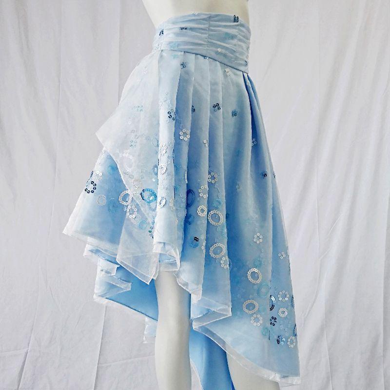 画像1: 演奏会 ステージでの早替えに / ドレスの上にさっと着るだけで変身 / ラグジュアリーなオーバースカート(1-0178サックスブルードレス専用 / ドレスは別売) 数量限定 ※ドレスの上に着るパーツのため単体での着用は不可 (1)