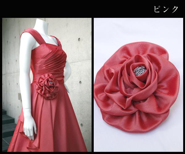 ライトシャンタンの大花コサージュ(ピンク)